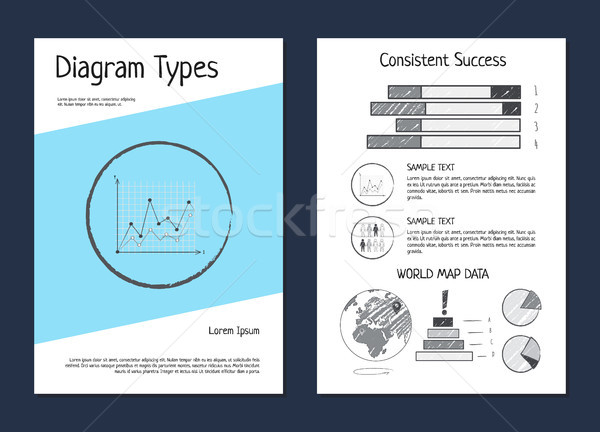 Diagram Types Wold Map Data Vector Illustration Stock photo © robuart
