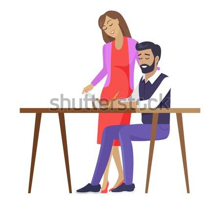 Paar liefde zitten bank knuffelen vergadering Stockfoto © robuart