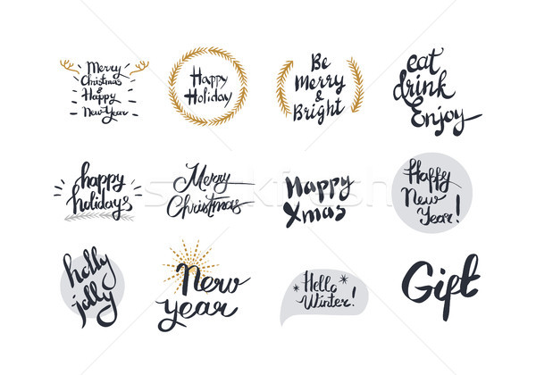 Merry Christmas and Happy New Year White Card Stock photo © robuart