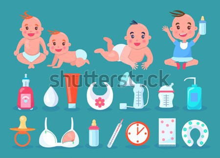 Items and Breastfeeding Moms Vector Illustration Stock photo © robuart