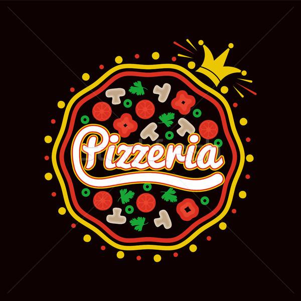 Pizzeria pizza kroon geheel Stockfoto © robuart