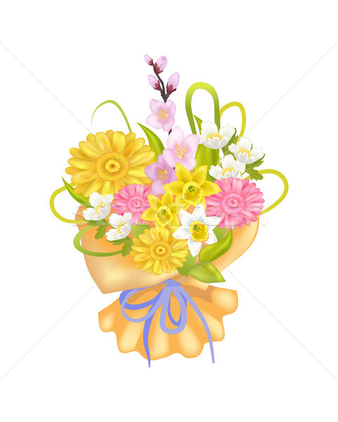 Attractive Bouquet with Varied Flowers, Color Card Stock photo © robuart