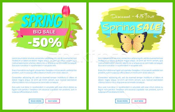 Spring Big Sale 50 45 Off Advertisement Labels Set Stock photo © robuart