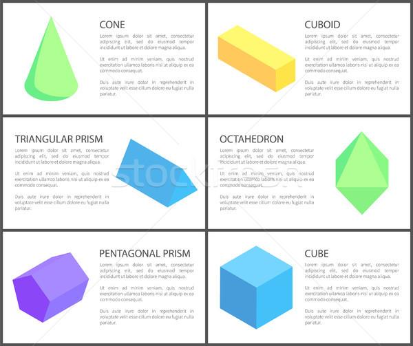 Geometrica set cono cubo oggetti raccolta Foto d'archivio © robuart