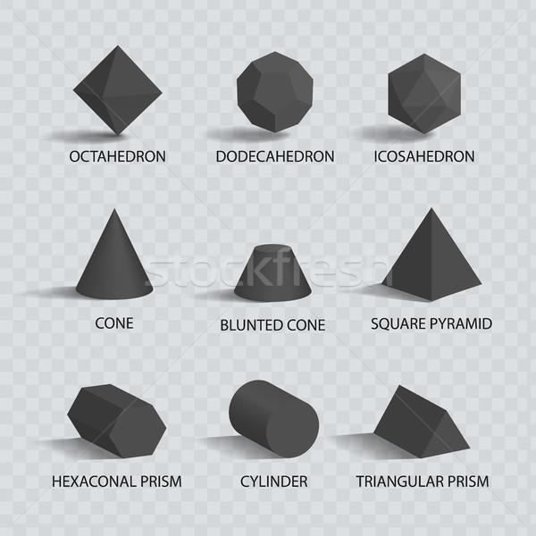 Koni piramit prizma silindir geometrik Stok fotoğraf © robuart
