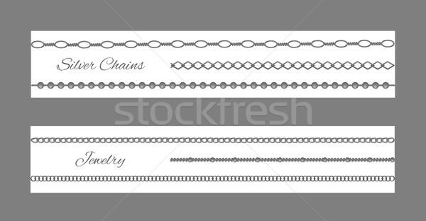 Gümüş zincir takı ayarlamak beyaz Stok fotoğraf © robuart