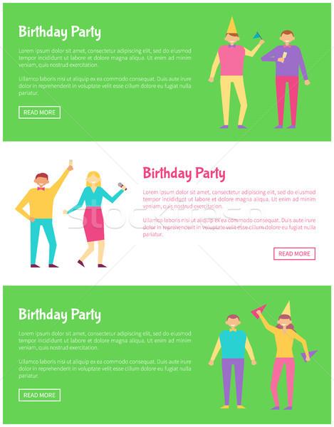 Parlak doğum günü partisi kartları vektör yalıtılmış Stok fotoğraf © robuart