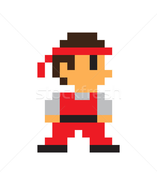 Game Character, Man Icon, Color Pixel Illustration Stock photo © robuart