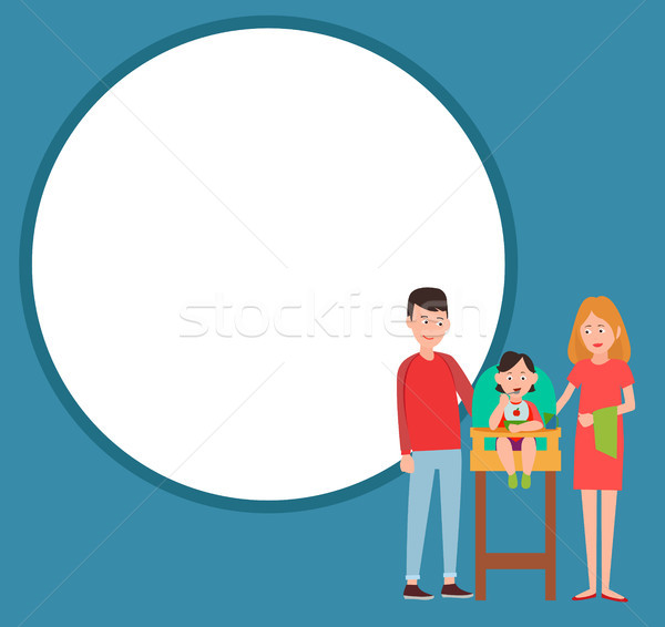 Infant Child Eating from Bowl in Baby Chair Vector Stock photo © robuart