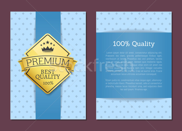 100 Quality Poster Design Golden Label Best Cover Stock photo © robuart