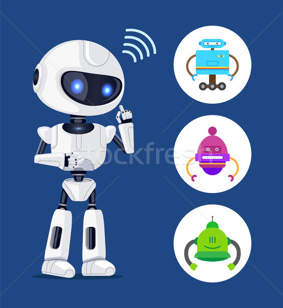 White Robot Sendind Radio Waves, Colorful Banner Stock photo © robuart