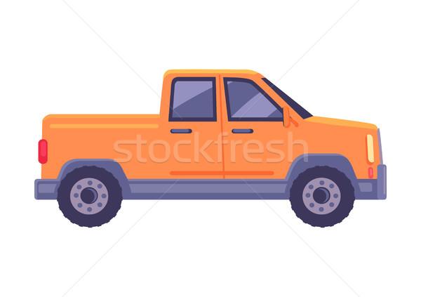 Orange Pickup Car Flat Vector Icon Stock photo © robuart