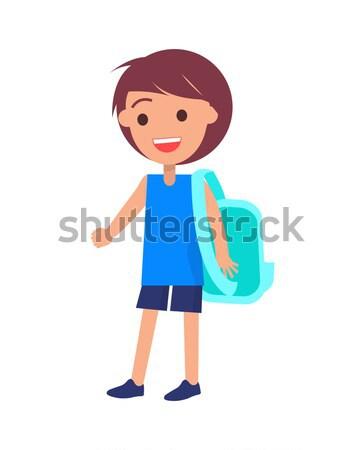 Iskolás fiú hátizsák rövidnadrág kék póló izolált Stock fotó © robuart