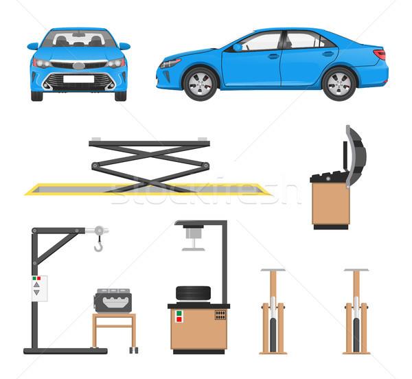 Ayarlamak araçları araba tamir mavi sedan Stok fotoğraf © robuart