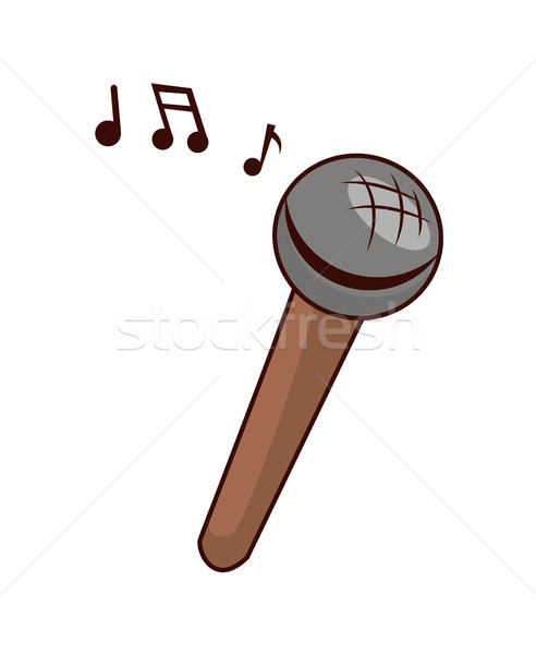 Toy Microphone to Sing with Small Musical Notes Stock photo © robuart