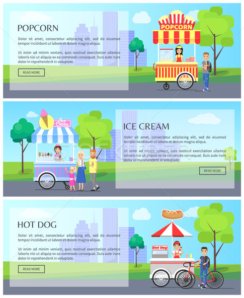 Popcorn Ice Cream Collection Vector Illustration Stock photo © robuart