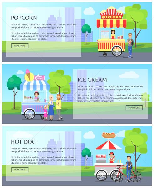 Pattogatott kukorica fagylalt gyűjtemény háló oldalak internet Stock fotó © robuart