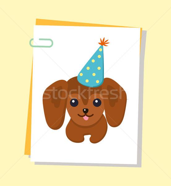 Tacskó boldog kutya poszter díszállat visel Stock fotó © robuart