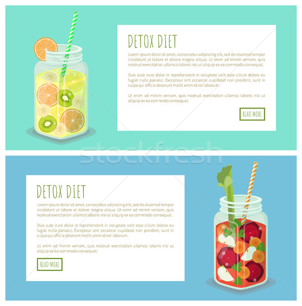Detox Diet Collection of Pages Vector Illustration Stock photo © robuart