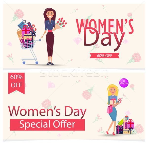 Womens Day Special Offer 60 Off Advertisement Stock photo © robuart