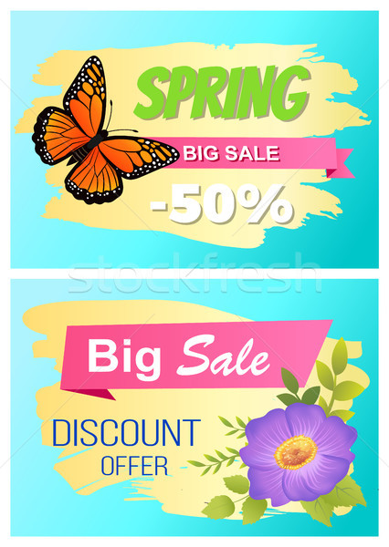 Spring Big Sale Set of Posters Butterfly and Flower. Stock photo © robuart