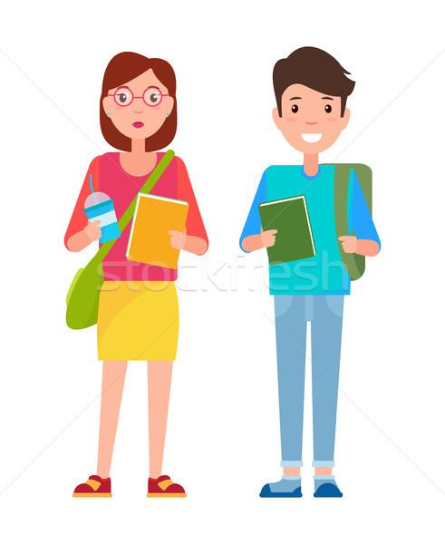 学生 少年 セーター ズボン 図書 少女 ストックフォト © robuart