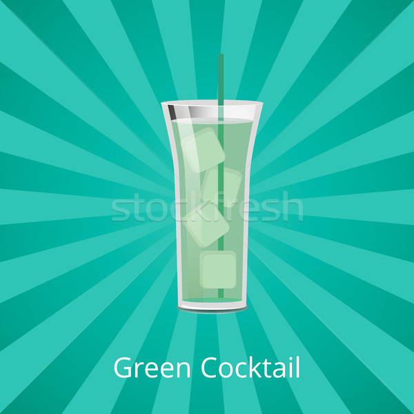 Green Cocktail with Ice Cubes Vector Illustration Stock photo © robuart
