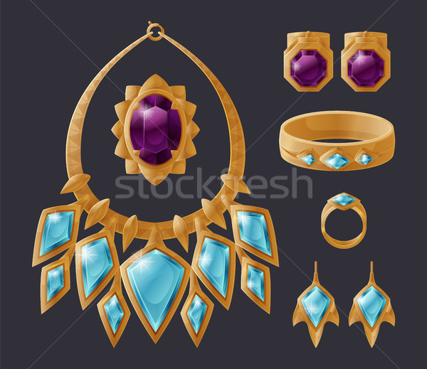 Jewelry Accessory Collection Isolated on Black Stock photo © robuart