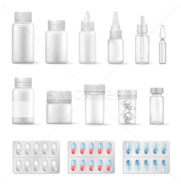 Empty Containers for Medical Liquids and Pills Set Stock photo © robuart