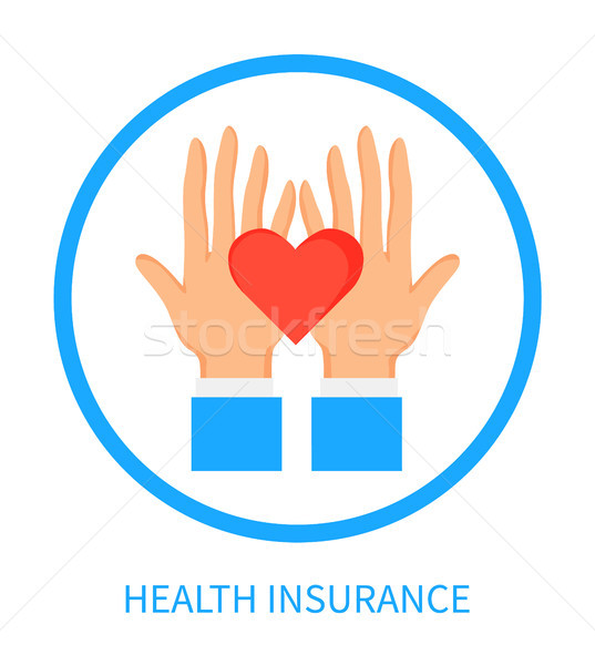 Health Insurance Logotype with Hands and Heart Stock photo © robuart