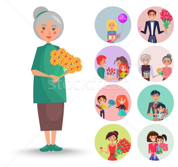 Foto stock: Edad · abuela · naranja · flores · ilustración · agradable