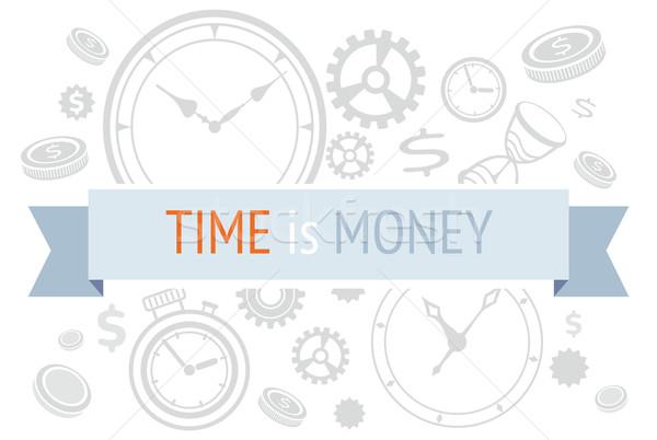 Tijd is geld iconen tekst lint klok ontwerp Stockfoto © robuart
