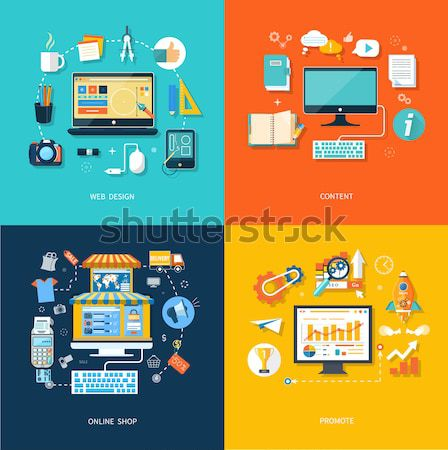 Set of business icons on banners Stock photo © robuart