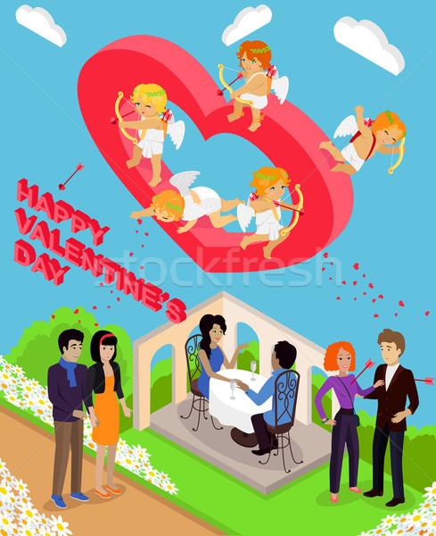 Stock photo: Isometric 3d Family Love Hearts. Valentine Day