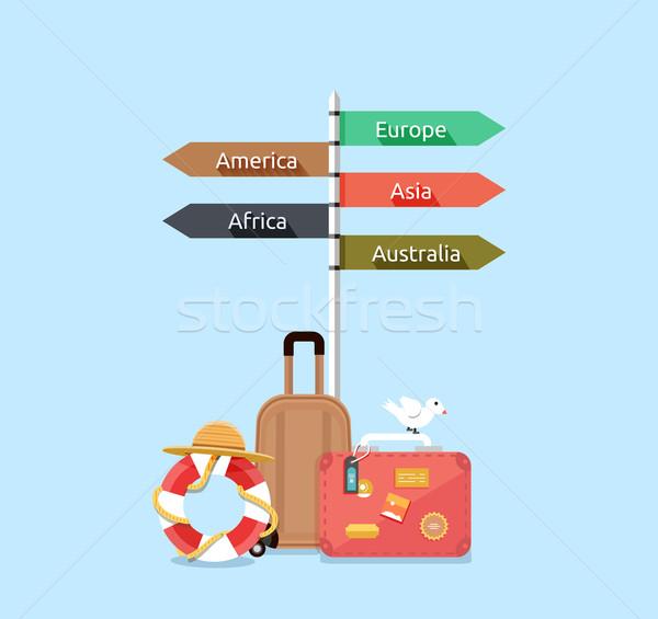 Utazás Ázsia Amerika Európa Afrika Ausztrália Stock fotó © robuart