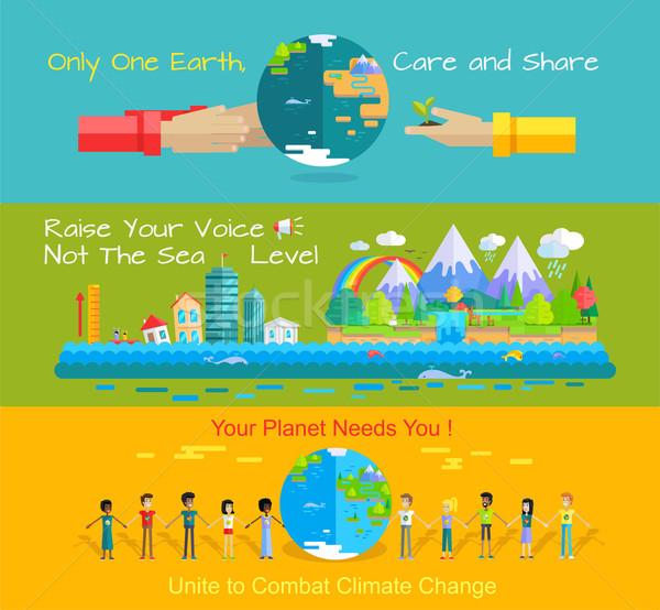 Dünya çevre gün koruma afişler vektör Stok fotoğraf © robuart