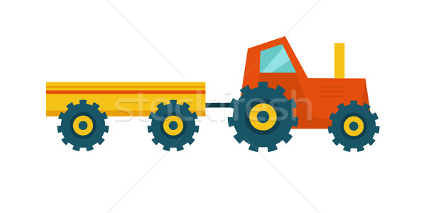Tractor with Trailer Vector Illustration. Stock photo © robuart