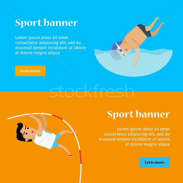 Swimming and Pole Vault Sports Banners Stock photo © robuart