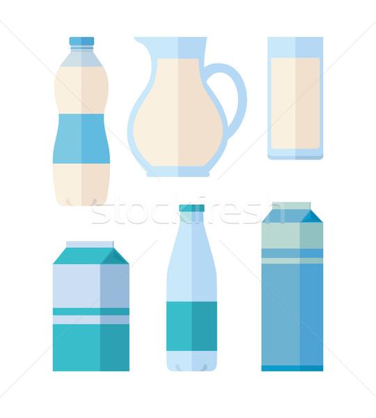 Conjunto tradicional leite diferente branco Foto stock © robuart