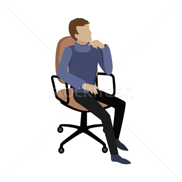 Man Sitting on Chair and Dreaming About Something Stock photo © robuart
