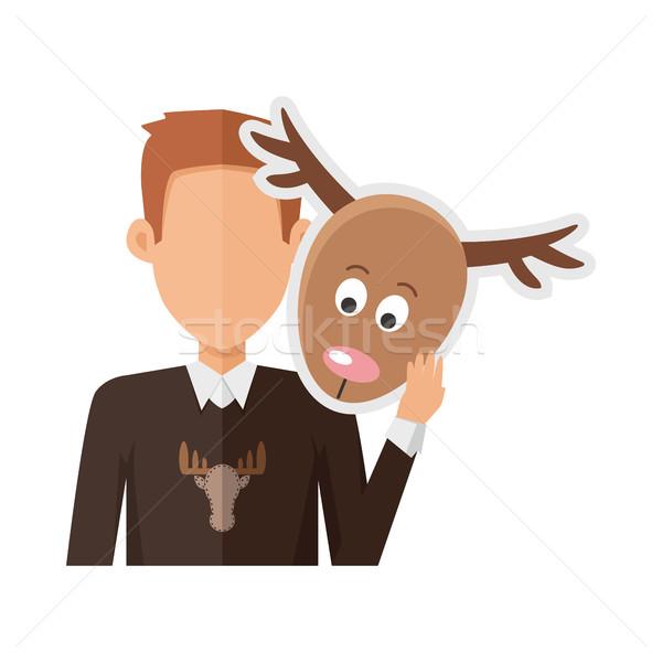 Man with Deer Mask Flat Design Vector Illustration Stock photo © robuart