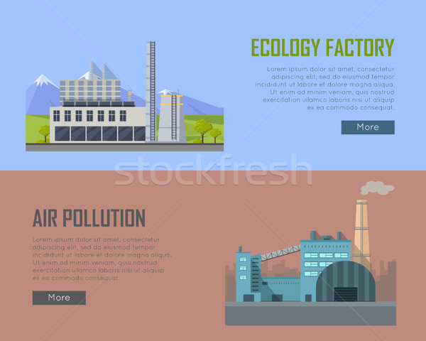 Ecology Factory and Air Pollution Banners Stock photo © robuart
