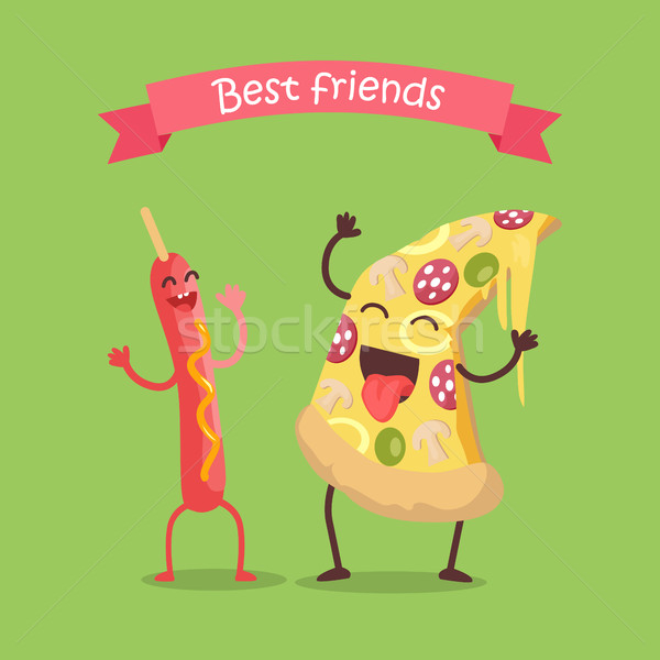 Best Friends Sausage on Stick and Pizza Dancing. Stock photo © robuart