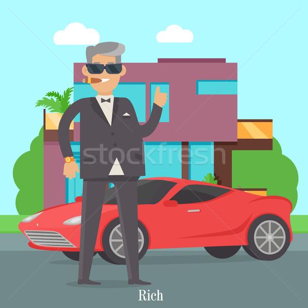 Yakışıklı adam şık elbise serin araba Stok fotoğraf © robuart