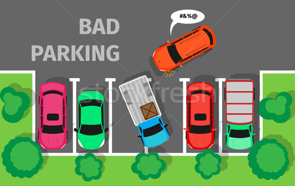 Bad Parking. Car Parked in Inappropriate Way. Stock photo © robuart