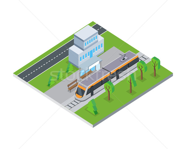 Isometric Gray Public Tram in City Stock photo © robuart