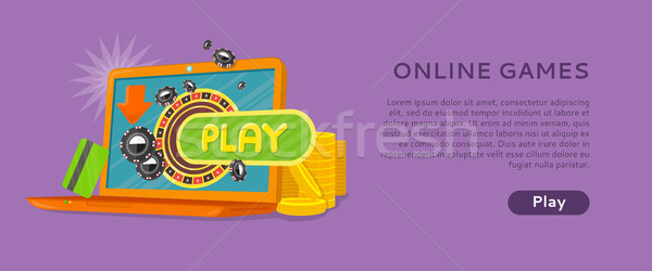 Online Games Banner Laptop Casino Roulette Wheel Stock photo © robuart