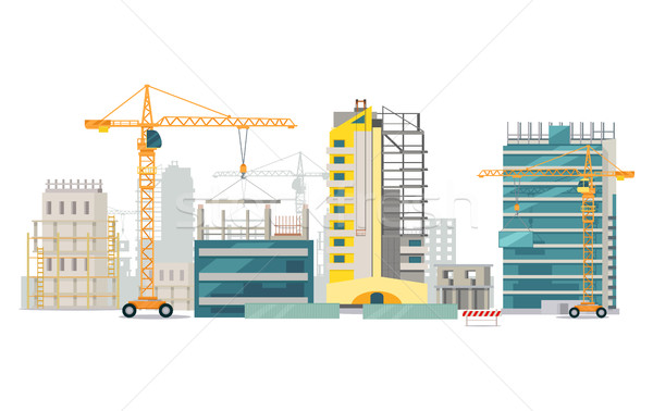 Unfinished Buildings. Cranes. City Construction Stock photo © robuart