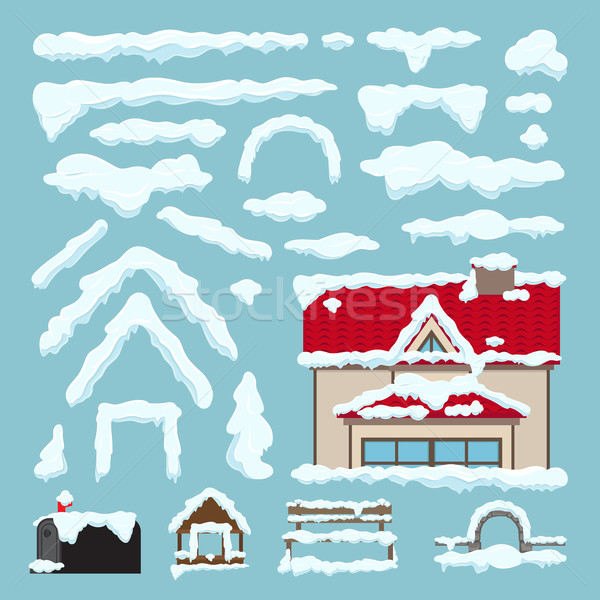 Szett izolált hó tél ház dekoráció Stock fotó © robuart
