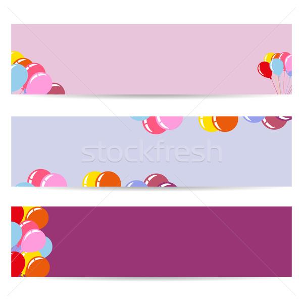 Drie posters lucht ballonnen lege folders Stockfoto © robuart